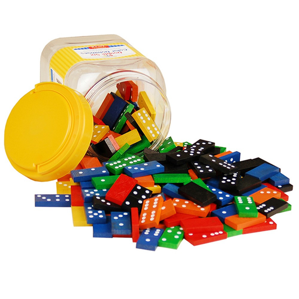 CTU7320 - Double 6 Color Dominoes 6 Sets 168 Pcs In Storage Bucket in Dominoes