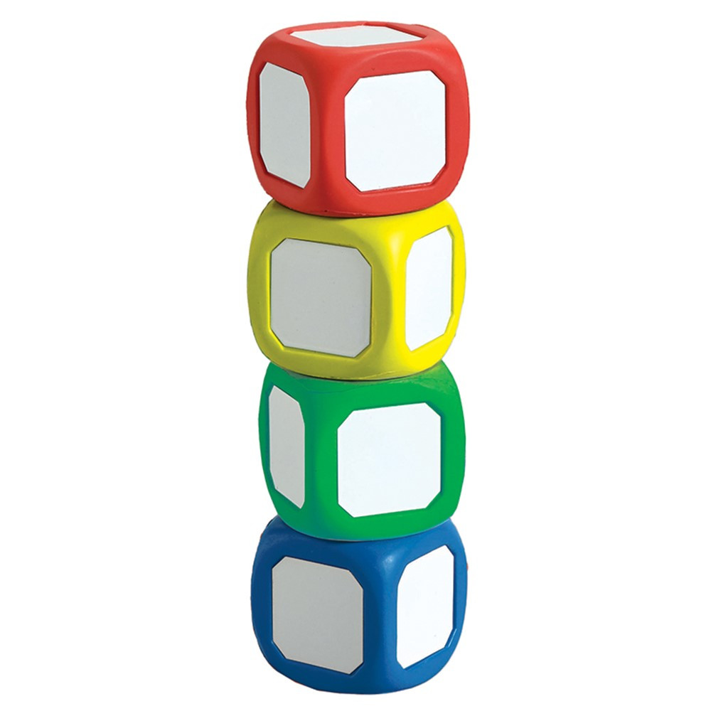 CTU7836 - Magnetic Write-On Wipe-Off Dice Set Of 4 Small Dice In Assorted Colors in Dry Erase Boards