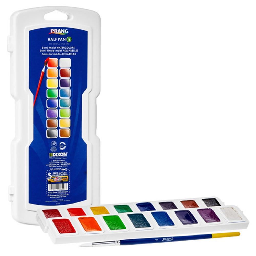 Half Pan Watercolors, 16-Color Set with Brush - DIX01600 | Dixon Ticonderoga Company | Paint