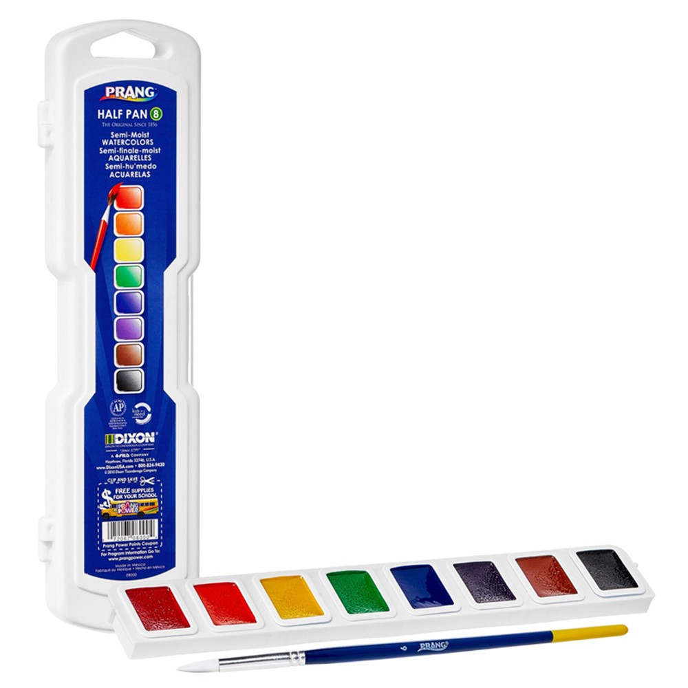Professional Watercolors, 8-Color Half Pan Set with Brush - DIX08000 | Dixon Ticonderoga Company | Paint