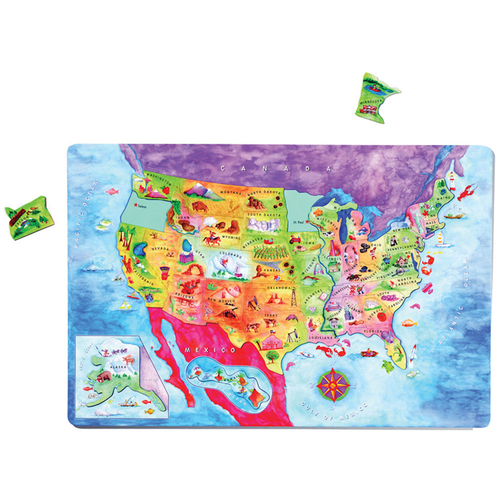 DO-734000 - Geopuzzle Magnetic Usa Map 12X18 in Maps & Map Skills