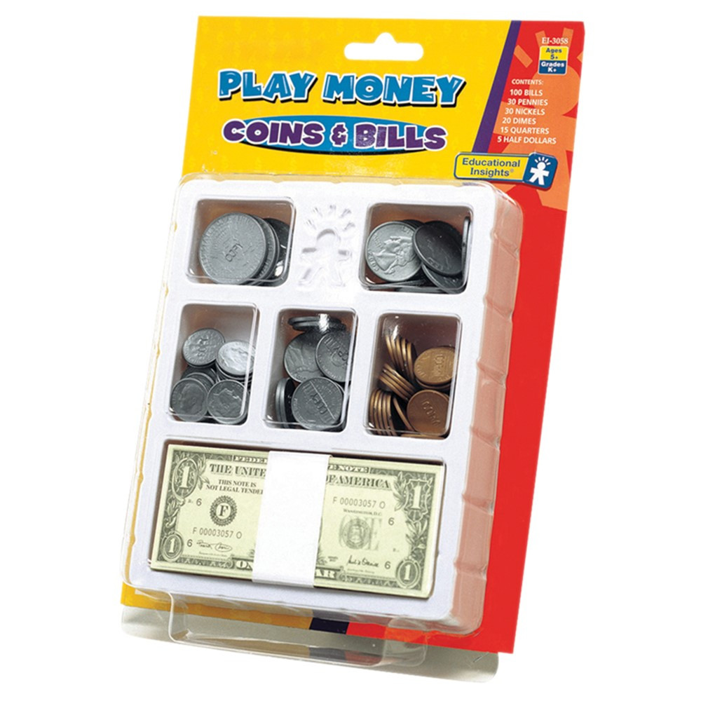 EI-3058 - Lets Pretend Play Money Coins & Bills Tray in Shopping