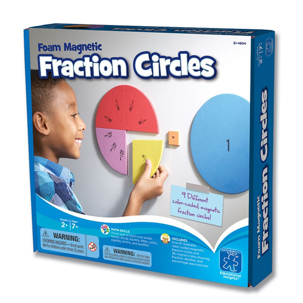 EI-4804 - Foam Magnetic Fraction Circles in Fractions & Decimals