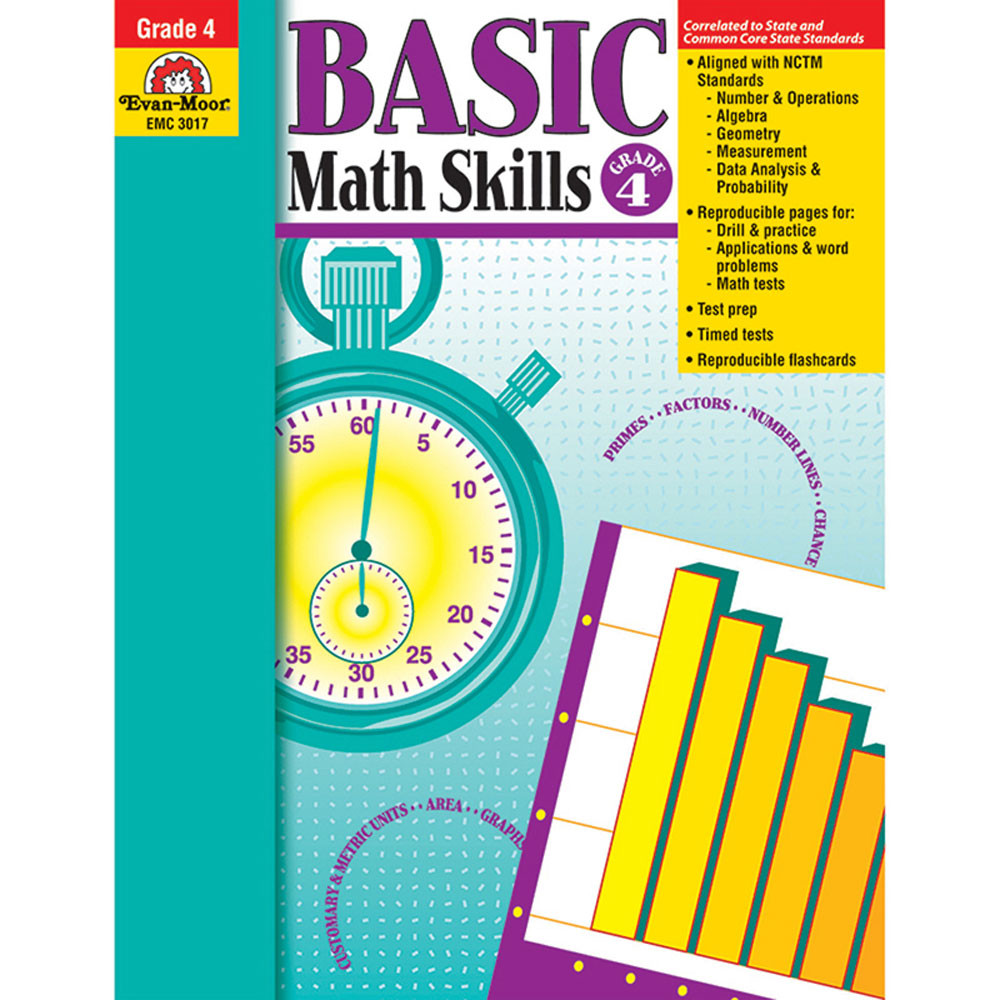 Basic Math Skills Gr 4 - EMC3017 | Evan-Moor | Math,Activity Books