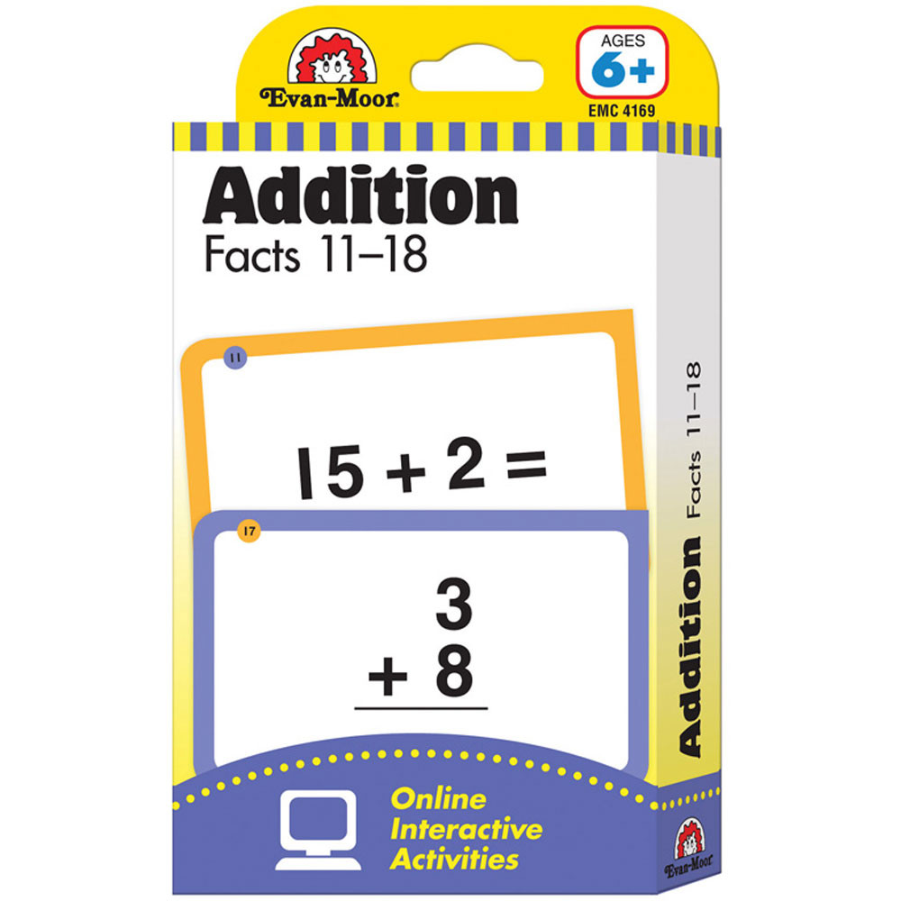 Flashcard Set Addition Facts 11 To 18 EMC4169 EvanMoor Math