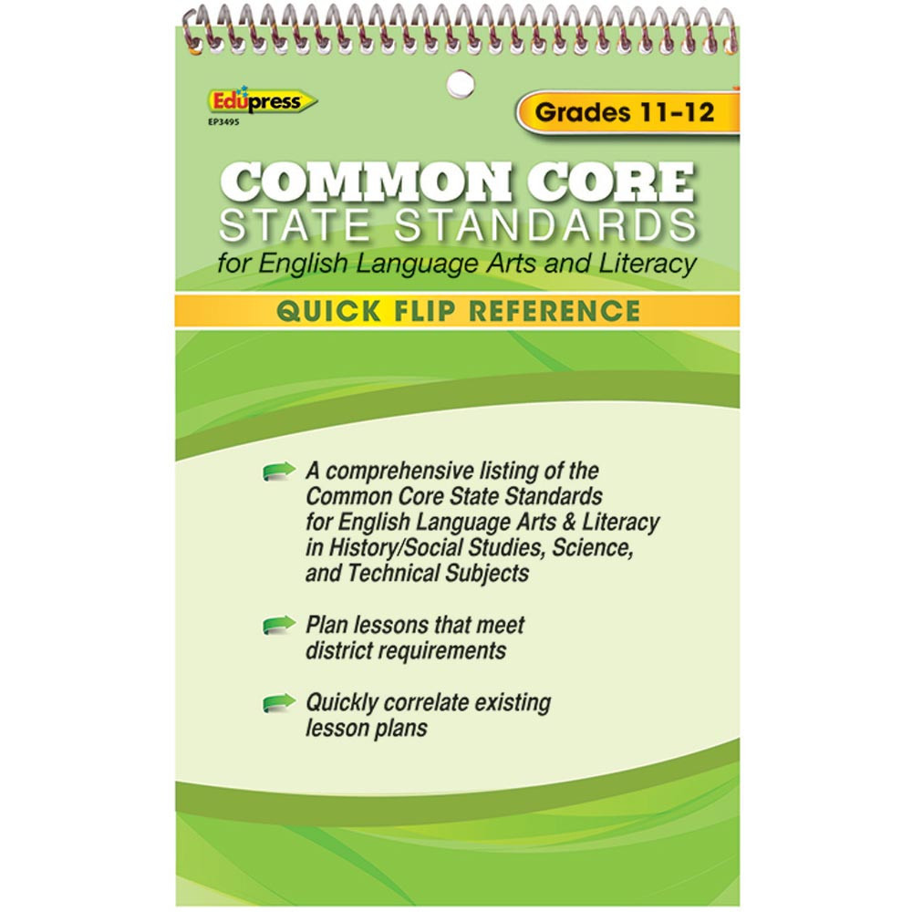 EP-3495 - Quick Flip Reference For Common Core State Standards Gr 11 - 12 in Cross-curriculum Resources