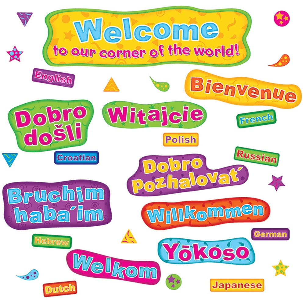 EP-3639 - Multicultural Welcome Mini Bulletin Board Set in Multilingual