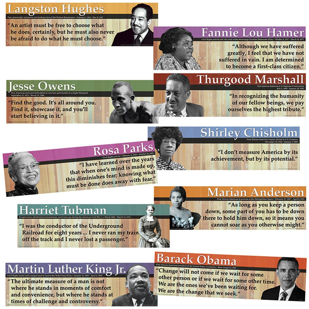 EP-3643 - Notable Black Americans Mini Bulletin Board Set in Social Studies