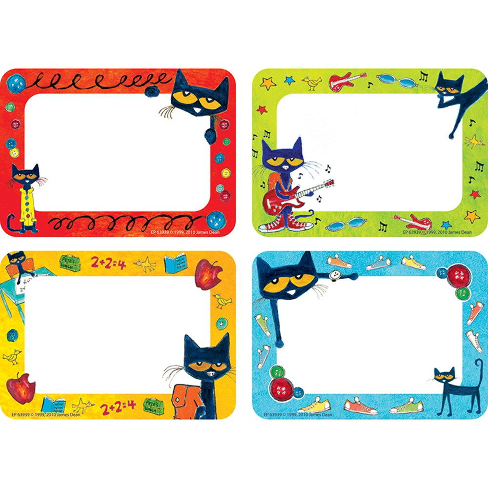 Pete The Cat Name Tags Labels Ep 63939 Teacher Created