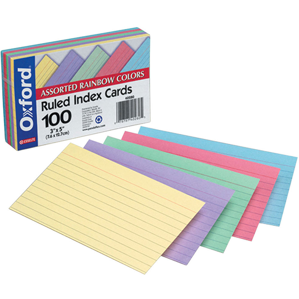 ESS40280 - Assorted Ruled Commercial 100 Ct Index Cards 3 X 5 in Index Cards