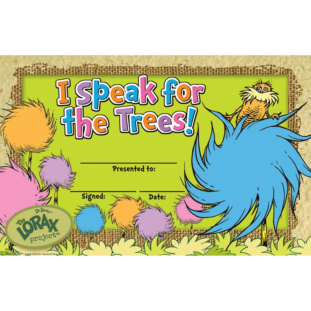 EU-844039 - The Lorax Project I Speak For The Trees Recognition Awards in Awards