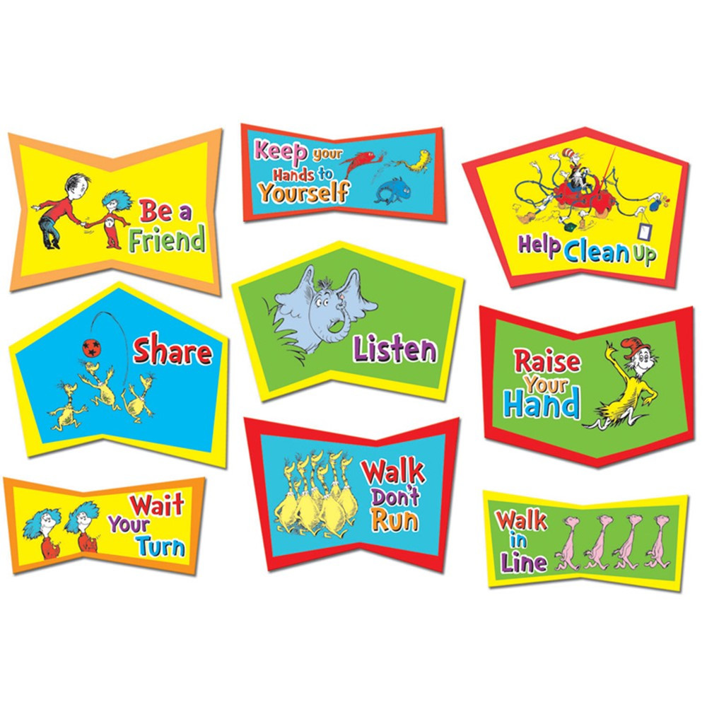 EU-847131 - Dr. Seuss Classroom Rules Bulletin Board Set in Classroom Theme