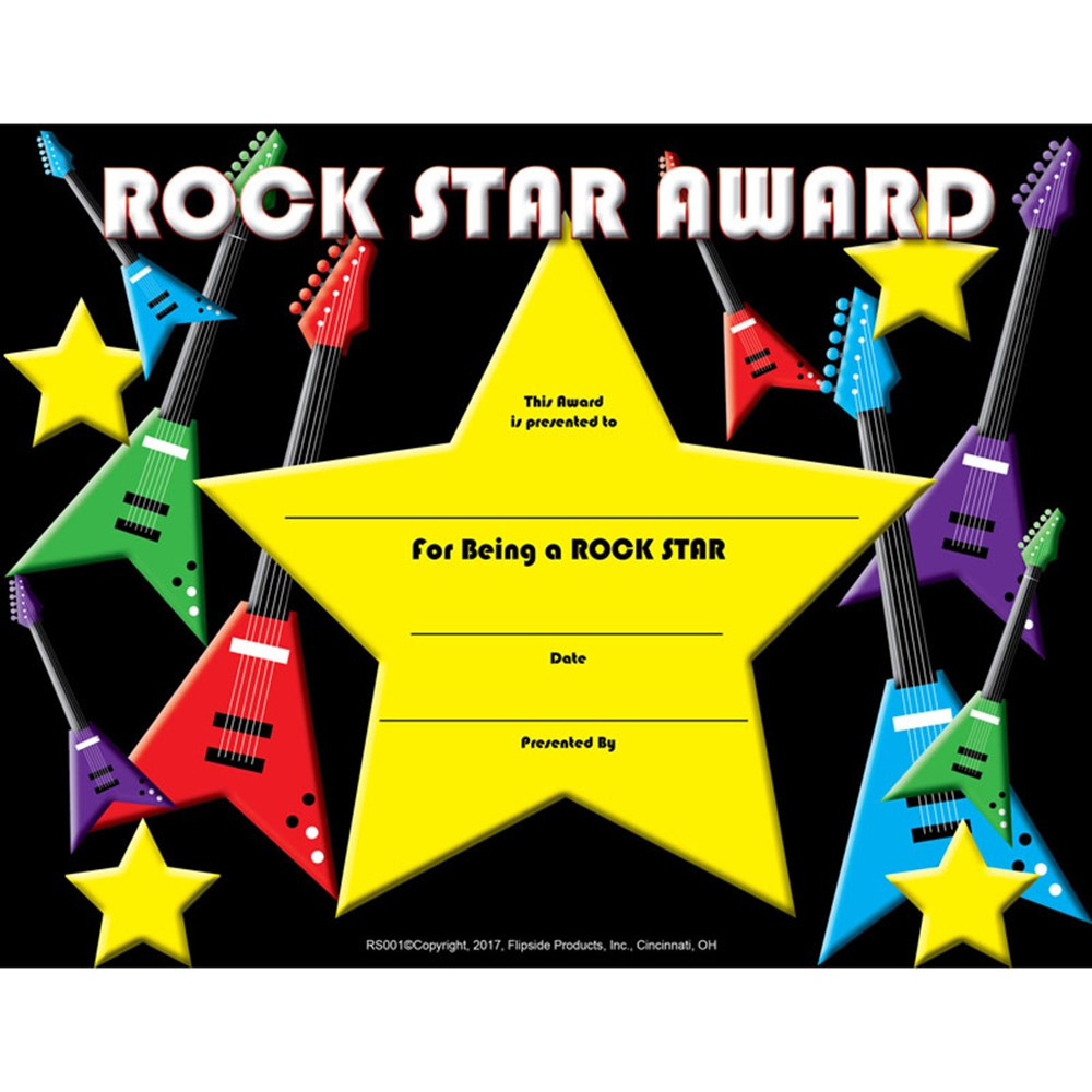 Rock Star Certificate Flprs001 Flipside Incentives Motivators
