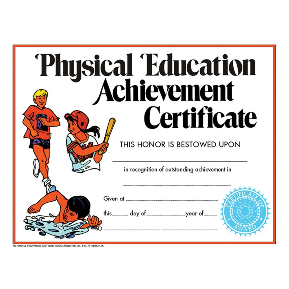 H-VA195CL - Certificate Physical Education 30Pk in Physical Fitness
