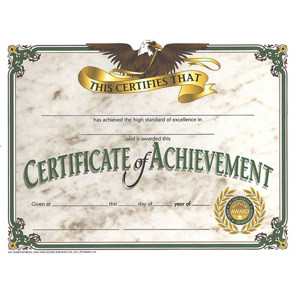 H-VA508 - Certificates Of Achievement 30/Pk 8.5 X 11 in Certificates
