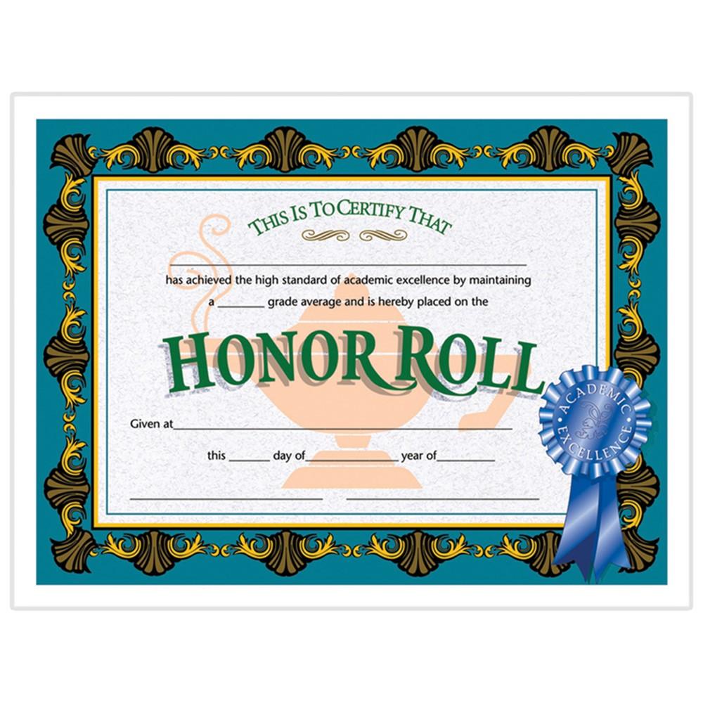 H-VA512 - Certificates Honor Roll Blue 30/Pk Ribbon 85 X 11 in Certificates