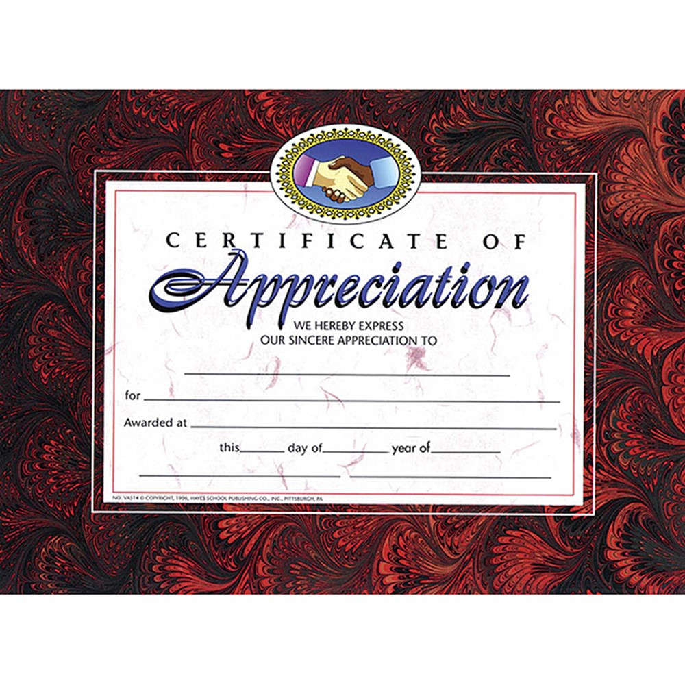 H-VA514 - Certificates Of Appreciation 30 Pk 8.5 X 11 in Certificates