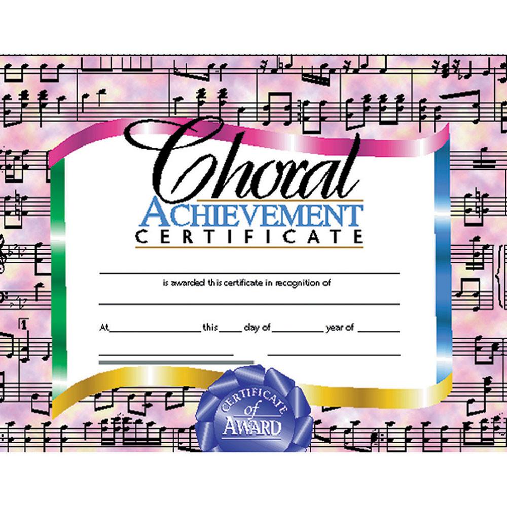 H-VA515 - Certificates Choral 30/Set Achievement Certificate in Music