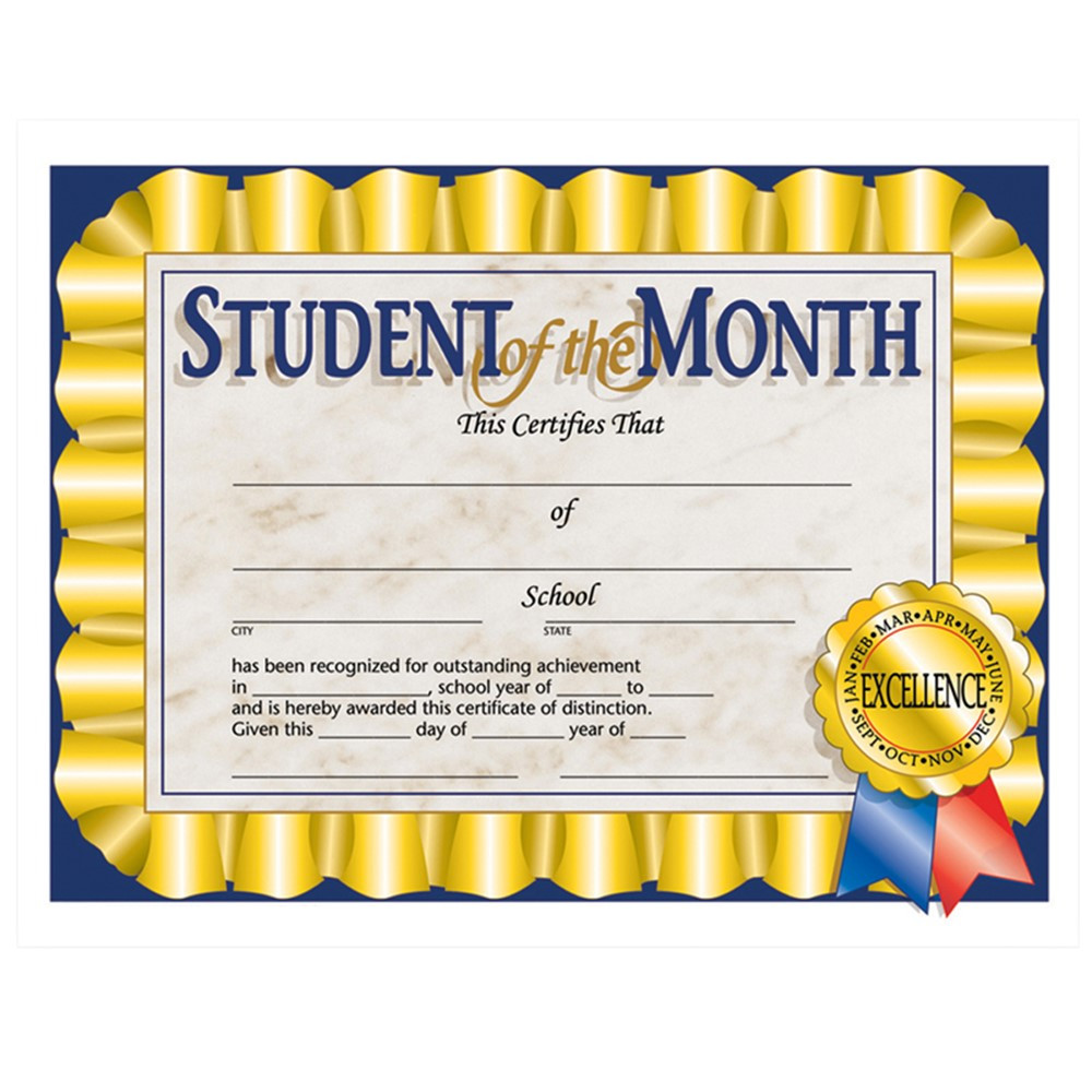 H-VA528 - Student Of The Month 30/Pk 8.5 X 11 Certificates in Certificates