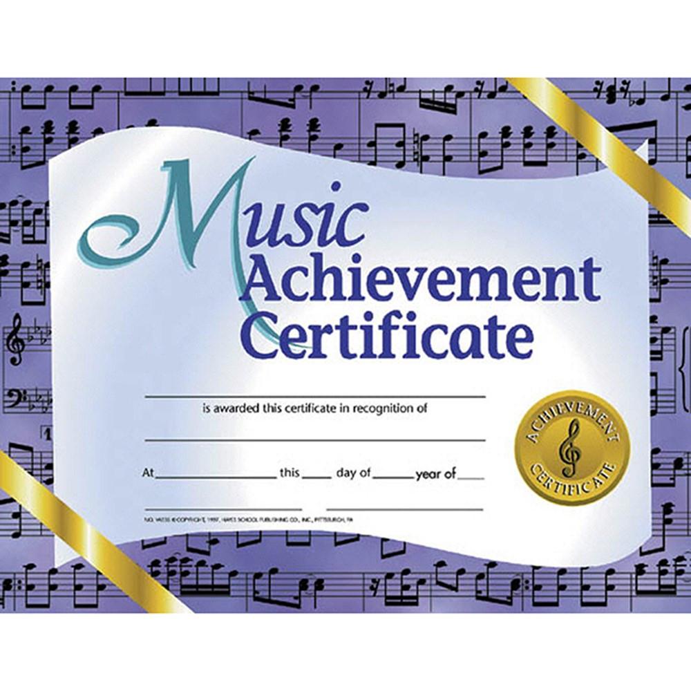 H-VA536 - Music Achievement 30/Pk 8.5 X 11 Certificates in Music