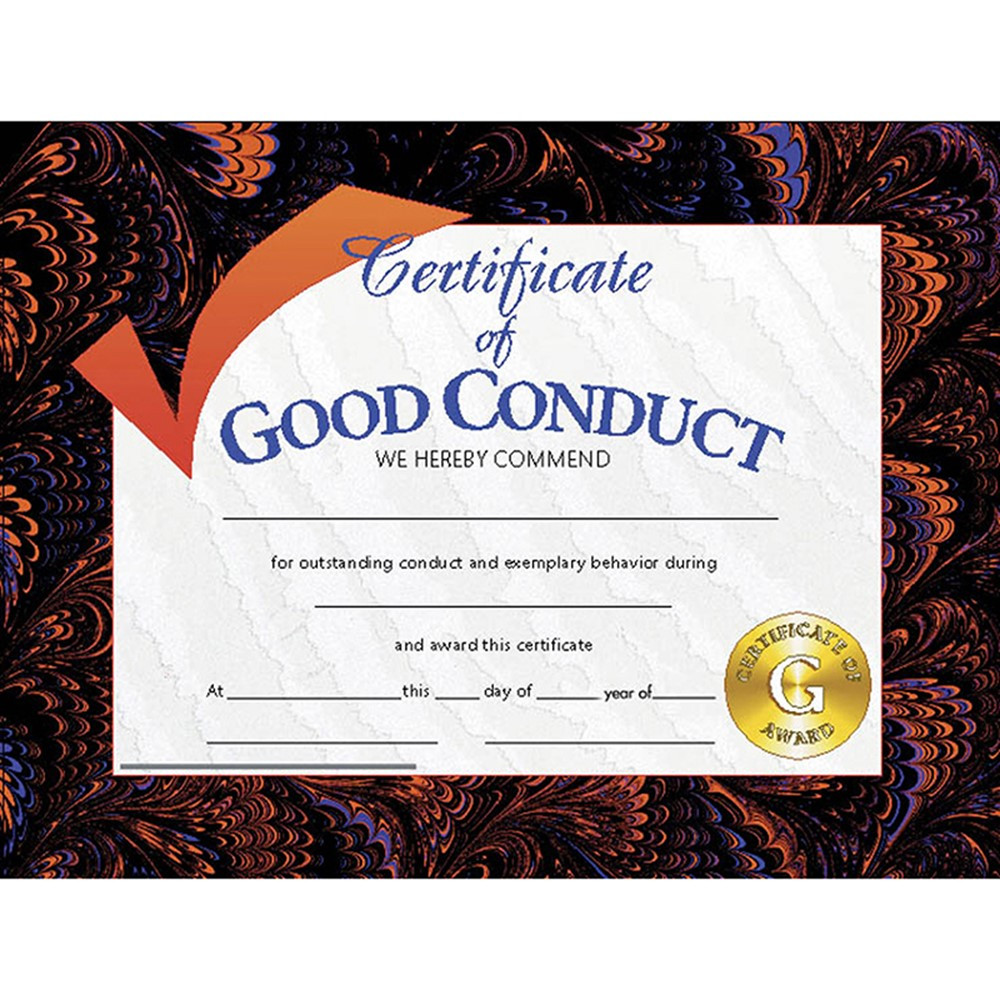 H-VA587 - Certificates Good Conduct 30/Pk 8.5 X 11 in Certificates