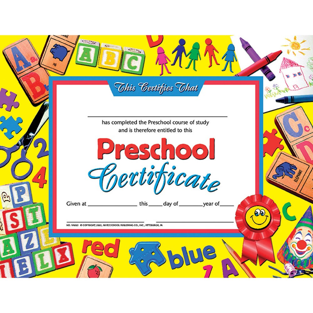 Kindergarten Awards Certificates: Preschool Certificate 30Pk Yellow Background