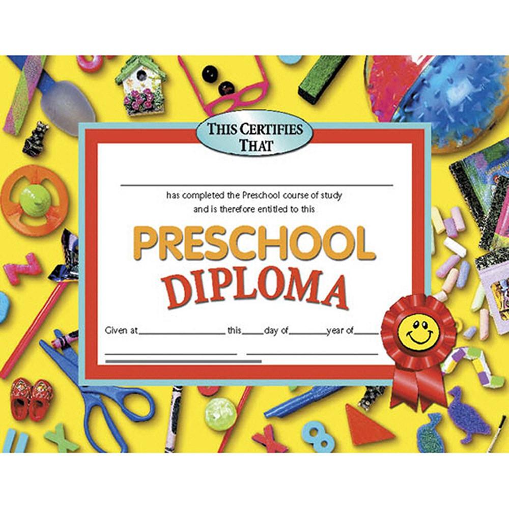 H-VA606 - Diplomas Preschool 30/Pk 8.5 X 11 Red Ribbon in Certificates