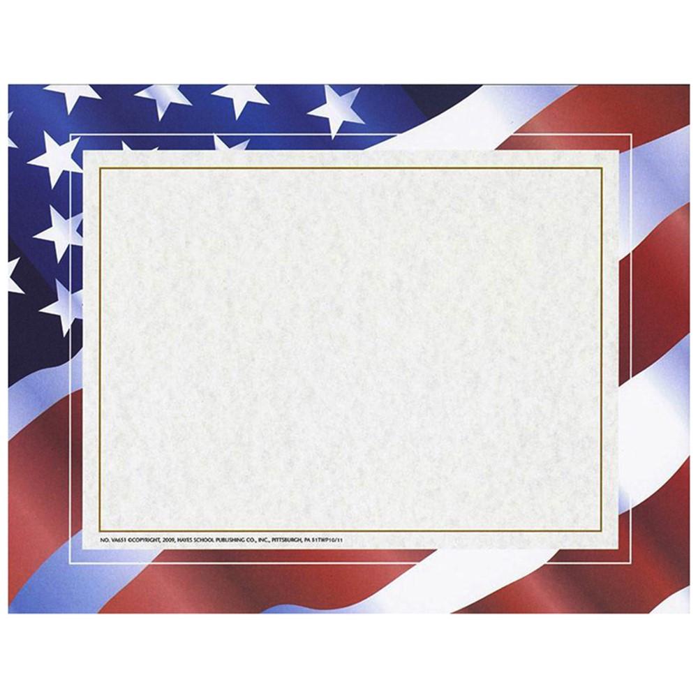 H-VA651 - Stars N Stripes Certificate Border Computer Paper 50/Pk in Certificates