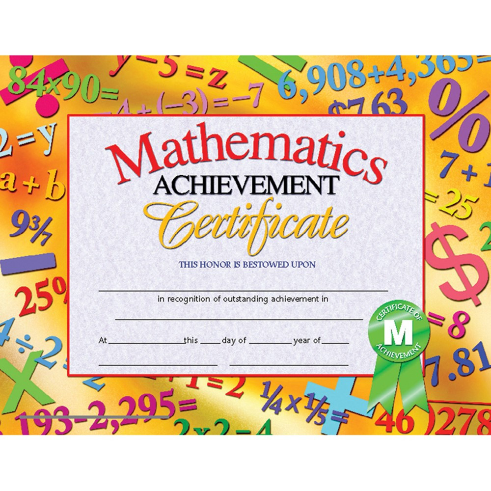 mathematics achievement 30pk certificates 8 5 x 11 inkjet