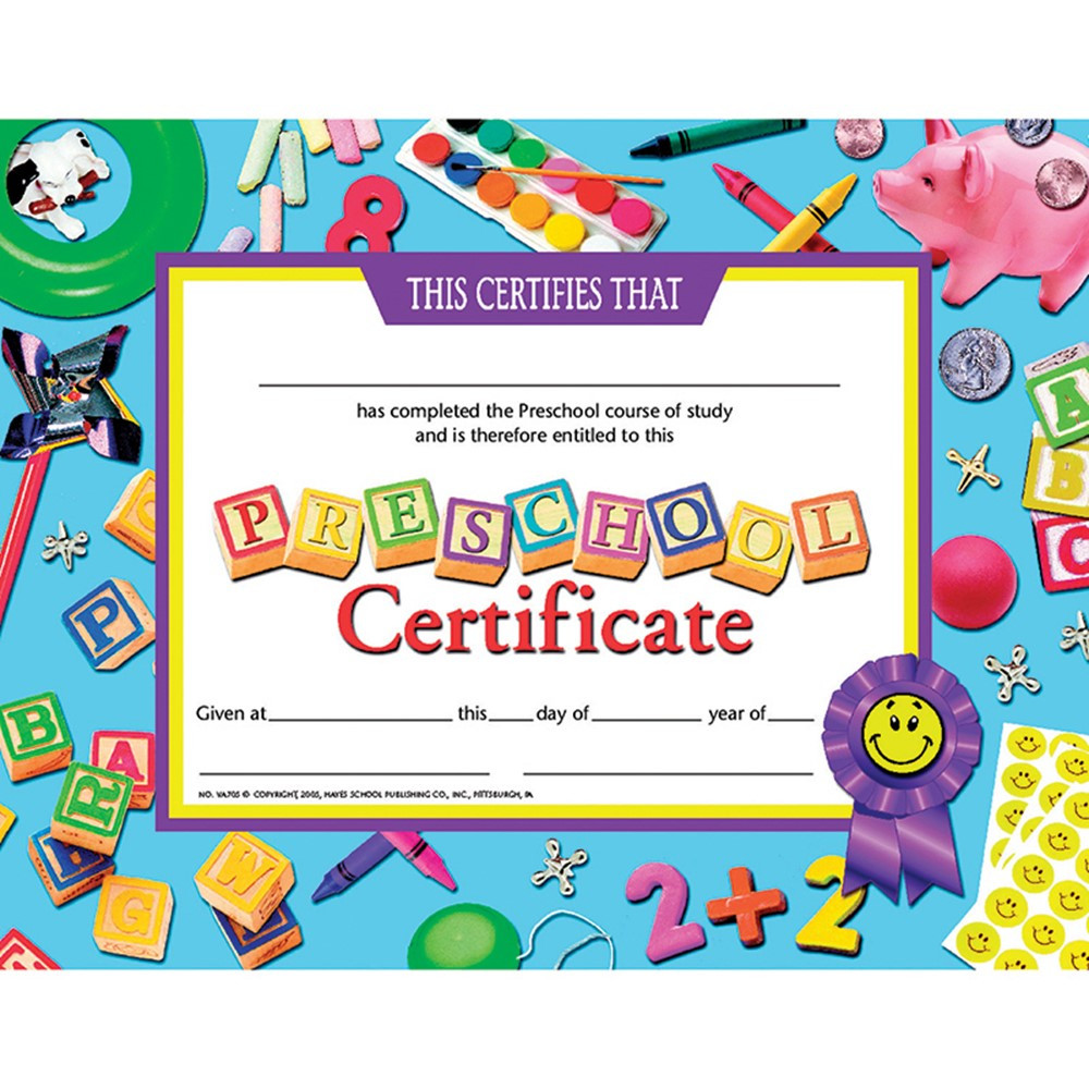 Certificates Preschool 30-Set Certificate Blue Background
