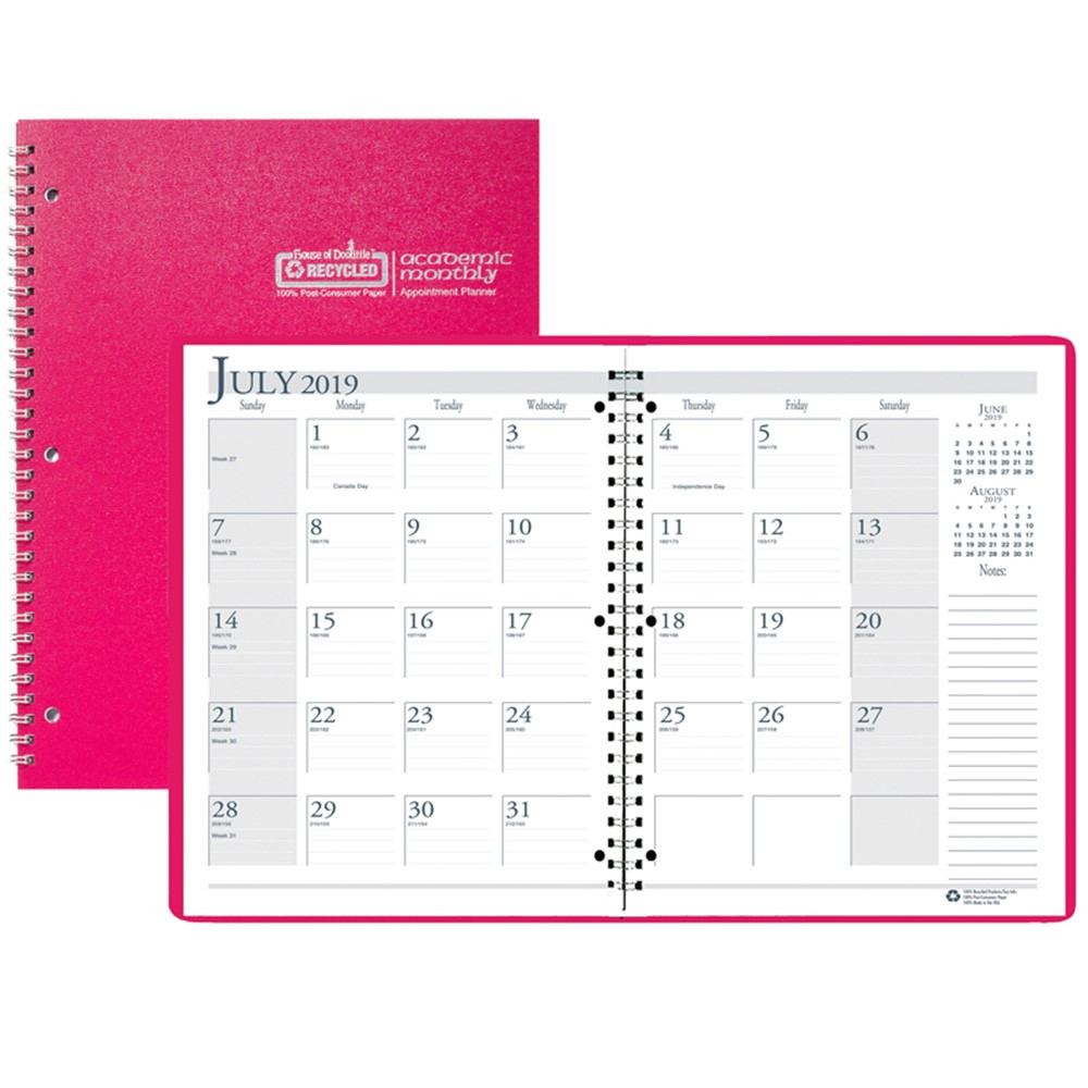 HOD26305 - Academic Monthly Planner 8 1/2 X 11 Pink Wirebound in Plan & Record Books