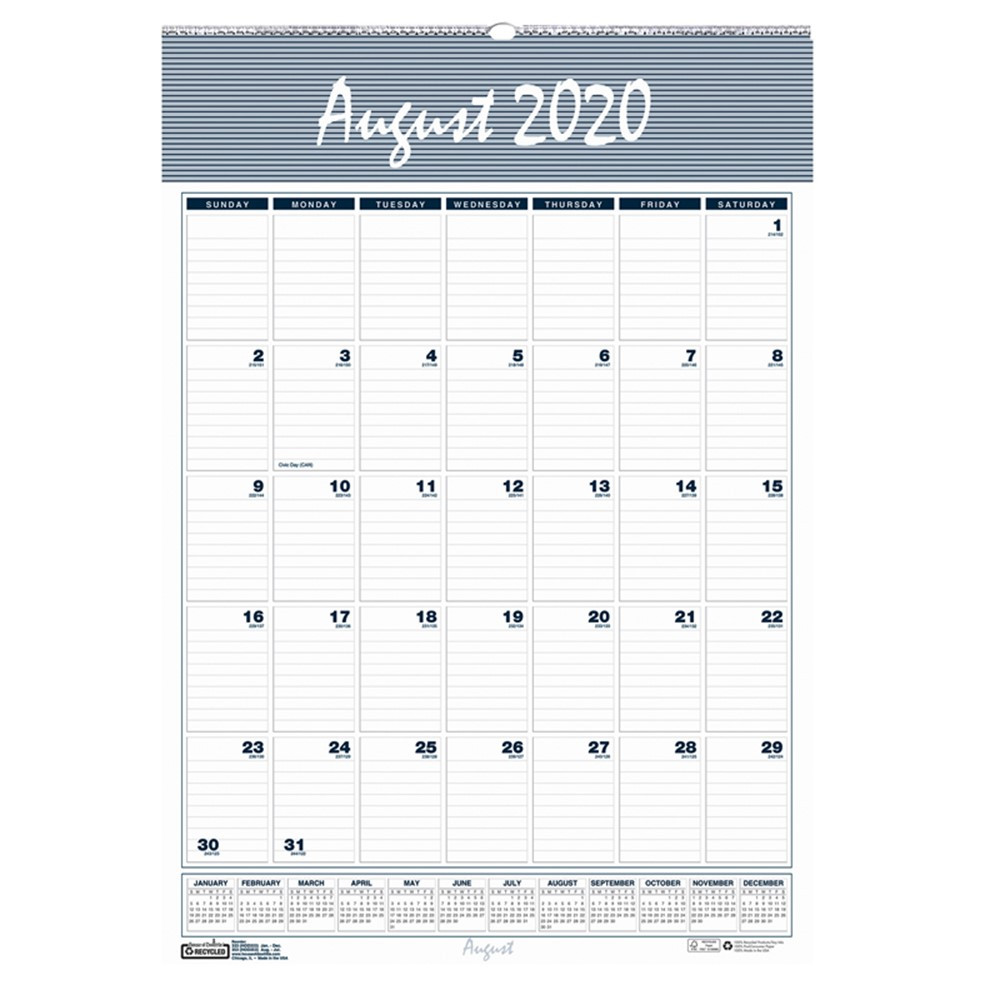 HOD352 - Wall Calendar 12 Months Aug-Jul in Calendars