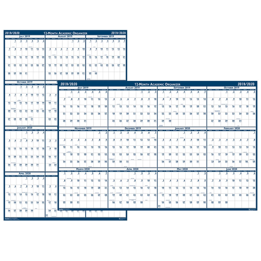 HOD395 - Laminated Reversible Planner 12 Months July - June in Plan & Record Books