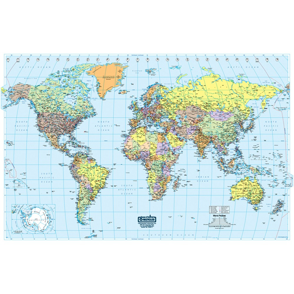 HOD710 - World Laminated Map 50 X 33 in Maps & Map Skills