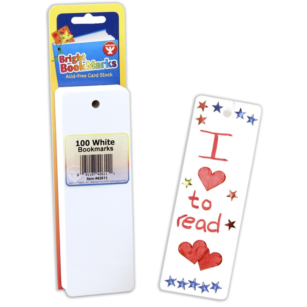 HYG42611 - Bookmarks 2 X 6 Ultra White 100 in Bookmarks