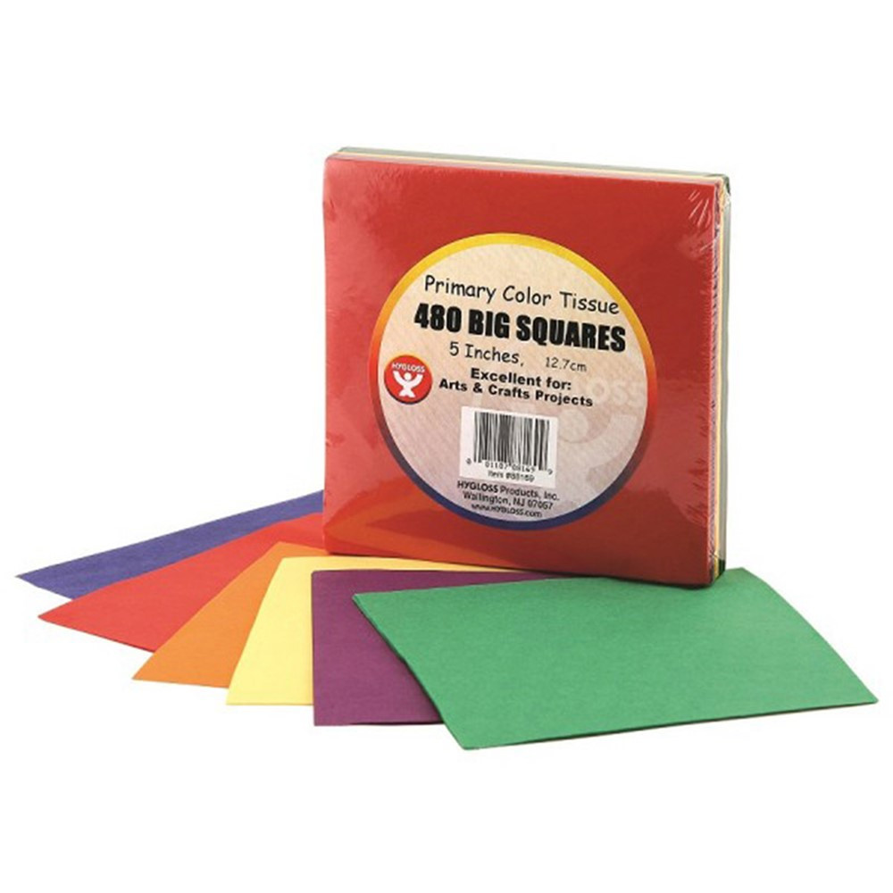 HYG88169 - Tissue Paper 480Ct 5In Squares Primary Colors in Tissue Paper