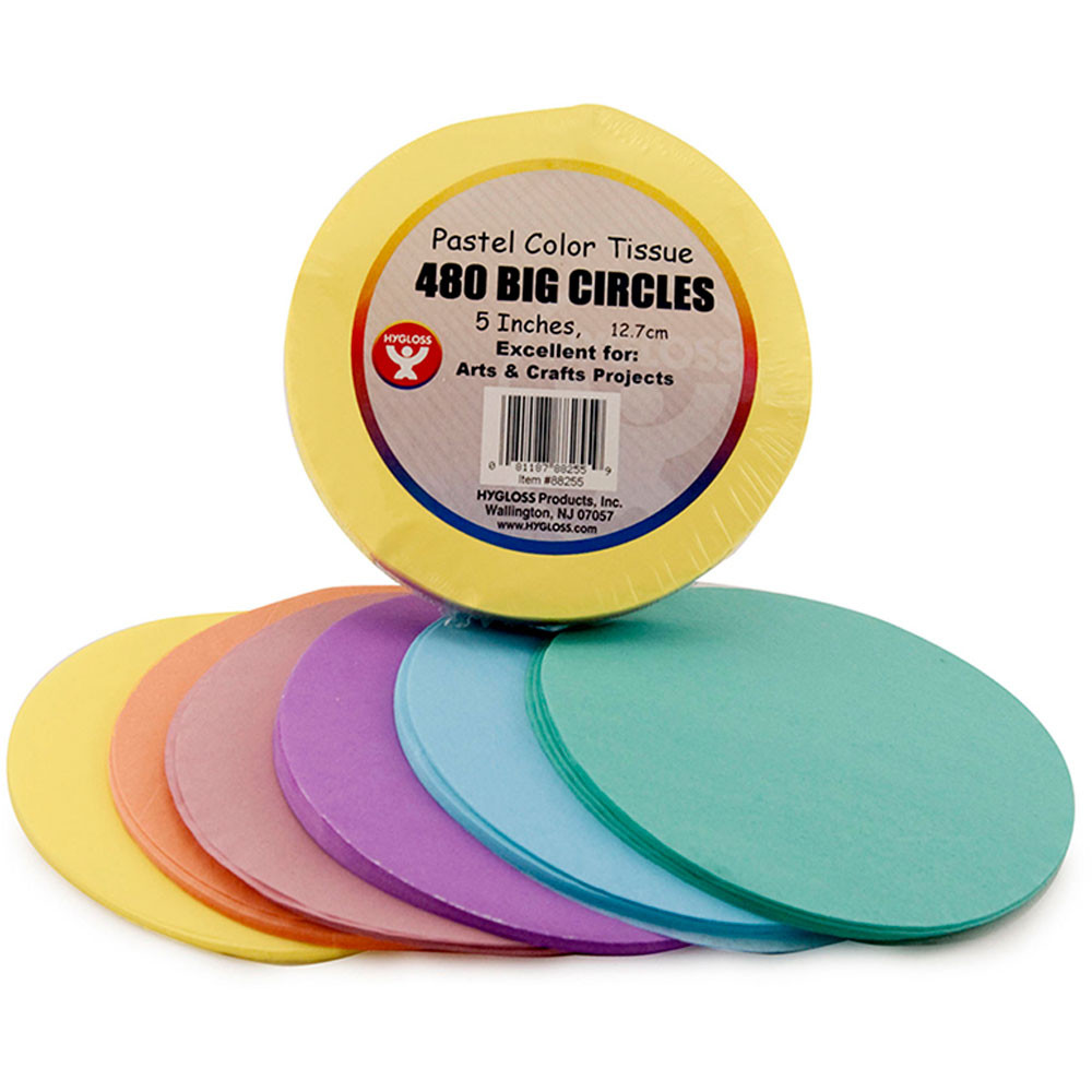 HYG88255 - 5 In Tissue Circles Pastel 480 Pcs in Tissue Paper