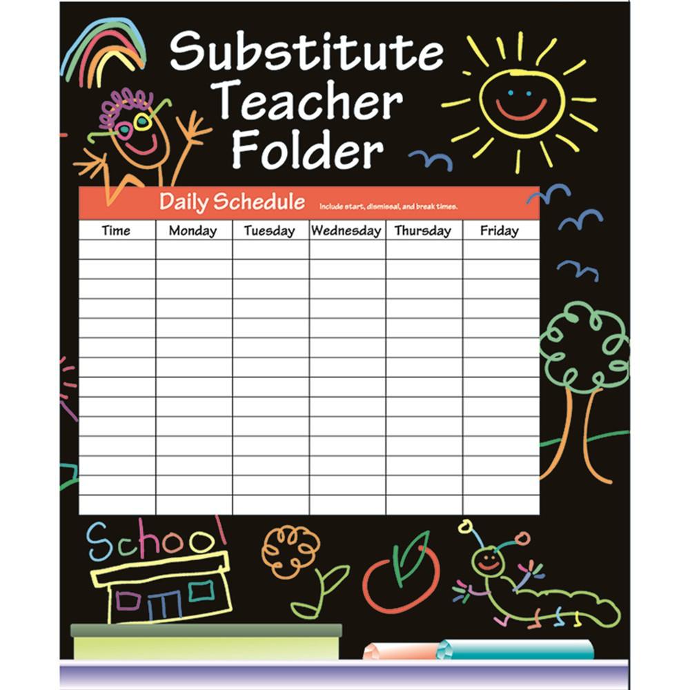 IF-468 - Substitute Folder Elem Kid-Drawn 9 X 11 W/ Pocket in Substitute Teachers
