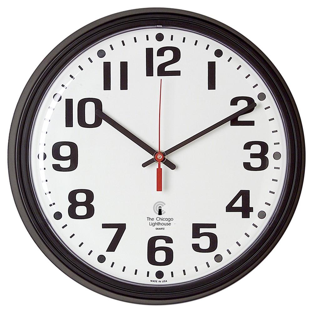 ILC67700000 - 13.75In Blk Contract Clock Bold Num 12In Dial Quartz Movement in Clocks