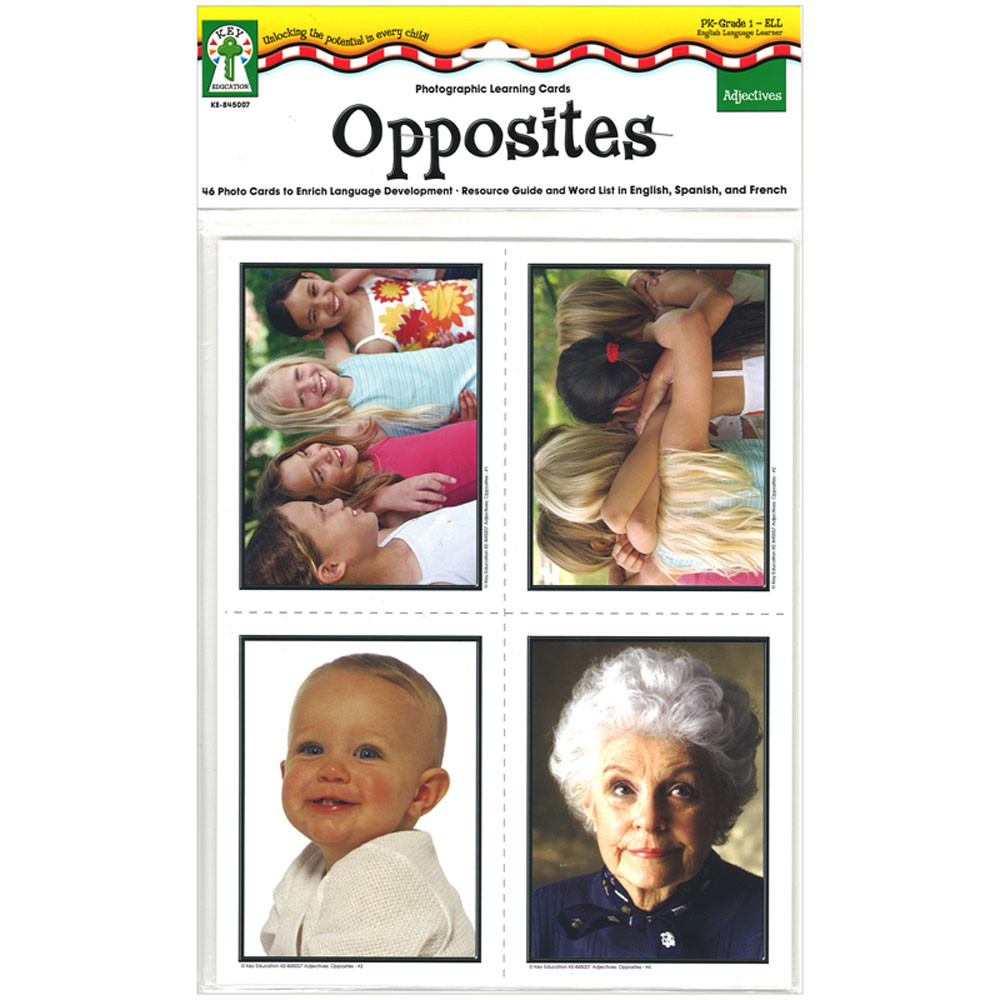 KE-845007 - Photographic Learning Cards Adjectives Opposites in Language Skills