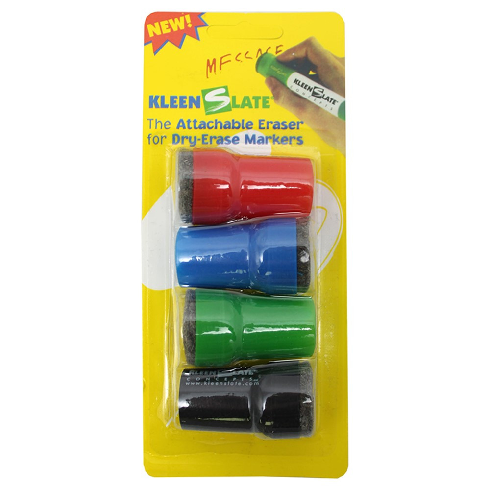 KLS0832 - Attachable Erasers For Dry 4-Pk Erase For Lrg Barrel Marker Carded in Whiteboard Accessories