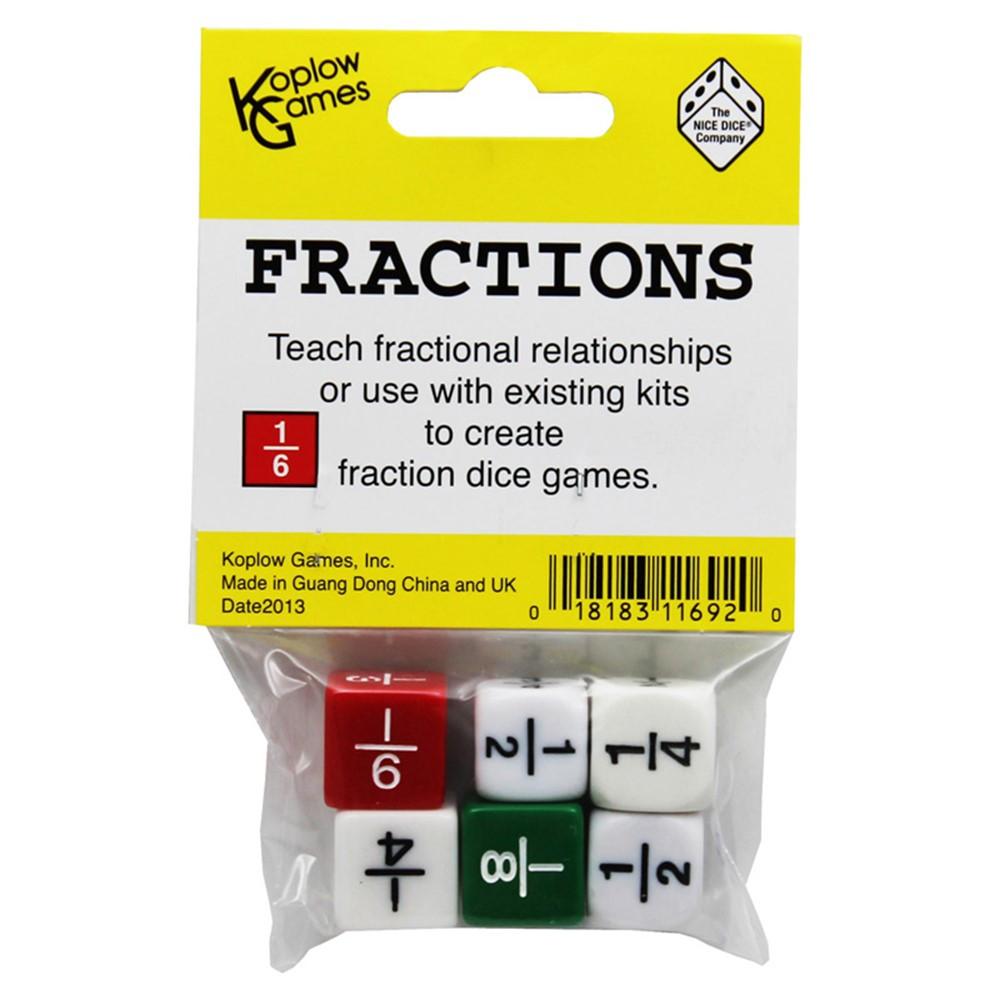 KOP11692 - Fraction Dice Set Of 6 in Fractions & Decimals