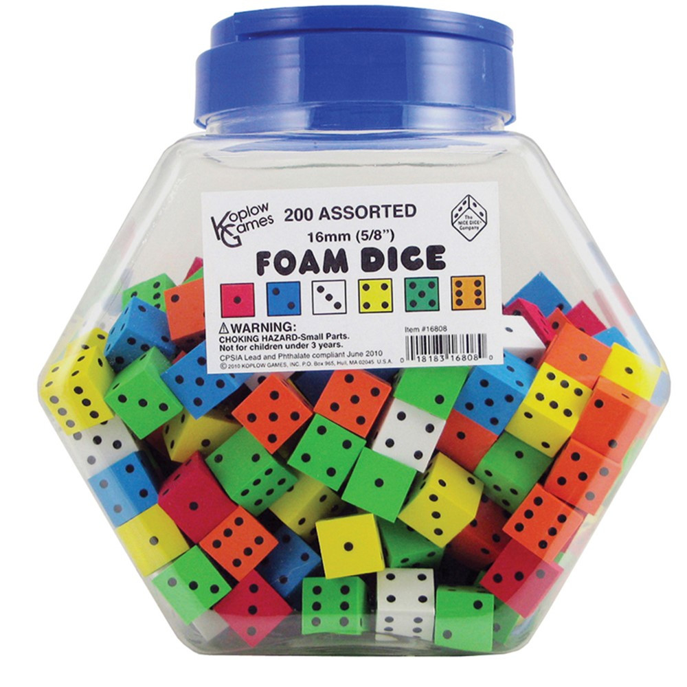 KOP16808 - 16Mm Foam Dice Tub Of 200 Assorted Color Spot in Dice