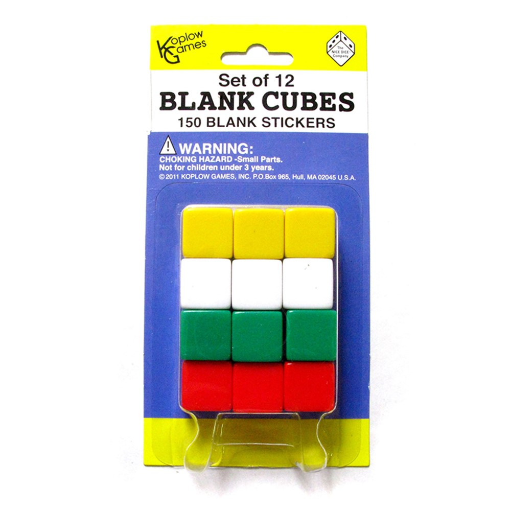 KOP17586 - Blank Dice With Stickers Set Of 12 Dice With 150 Stickers in Dice