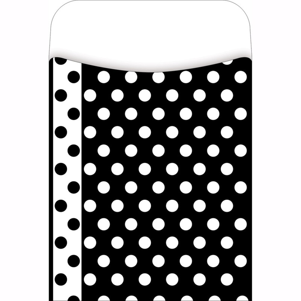 LAS1213L - Library Pockets Black & White Dots Pick A Pocket in Library Cards