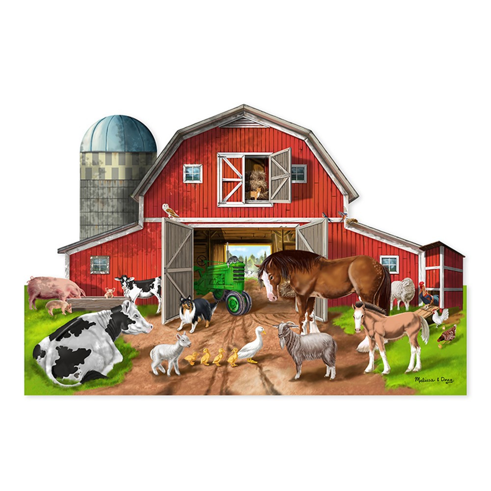 LCI2923 - Busy Barn Shaped Floor Puzzle 32 Pc in Floor Puzzles