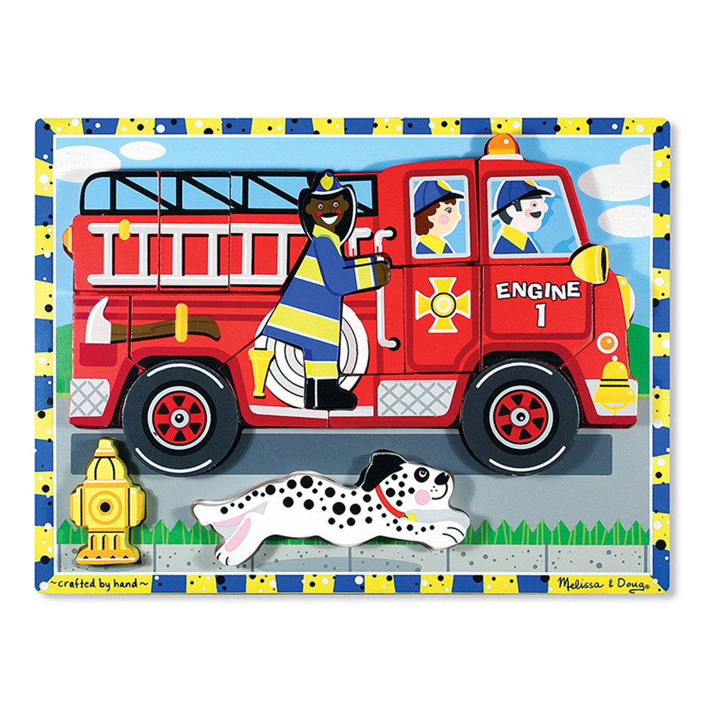 LCI3721 - Fire Truck Chunky Puzzle in Wooden Puzzles