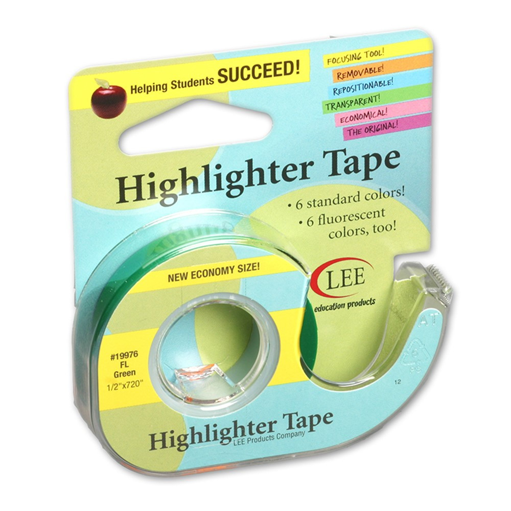 LEE19976 - Removable Highlighter Tape Fluorscent Green in Tape & Tape Dispensers