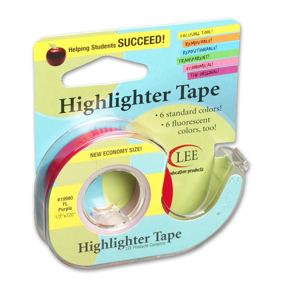 LEE19980 - Removable Highlighter Tape Fluorscent Purple in Tape & Tape Dispensers