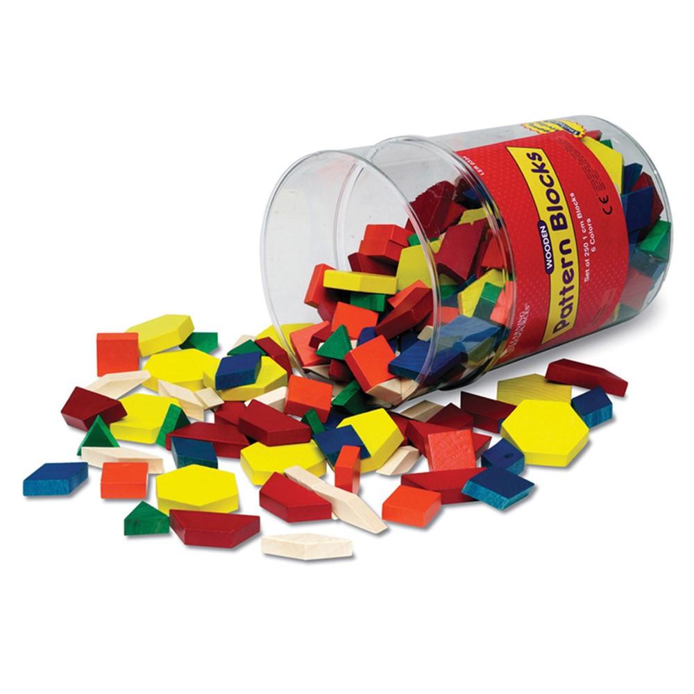 LER0334 - Pattern Blocks Wooden 250/Pk 1Cm In Bucket in Blocks & Construction Play